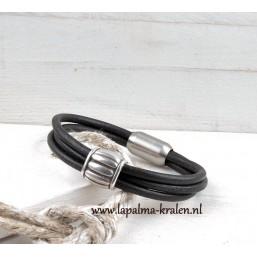 Heren armband Vintage zwart RVS slot Leerschuif INSPIRATIE Heren armbanden