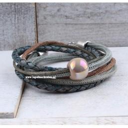 Wikkelarmband Leer met Keramiek Dames armbanden