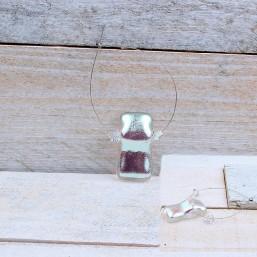 Hanger Dichroic glas met swarovski Zilver EXC01 Glaskralen divers