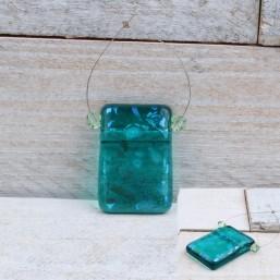 Hanger Dichroic glas met swarovski Groen turquoise EXC03 Glaskralen divers