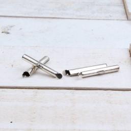 DQ metaal schuif eindkap Antiek zilver 25.5mmDQ897 Rond Zilver