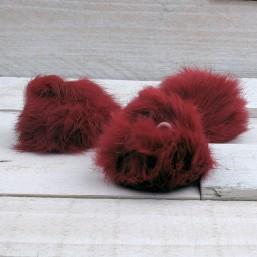 Pluizenbol bordaux/rood ca.60mmPLB06 Pluizenbol