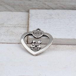 Hanger Hart met liefdespaartjeME513 Bedels en Hangers