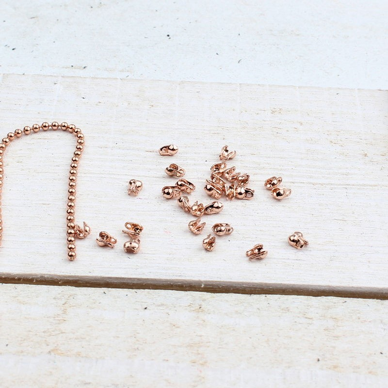 DQ metaal eindkapje ballchain 1.2 mm Rose Gold DQ677