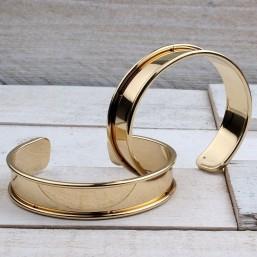 Armband Goud voor 10mm leerME742 Ronde en Half armbanden metaal