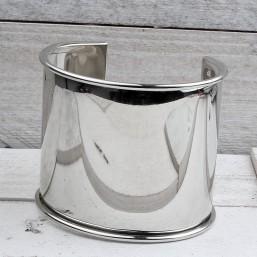 Armband zilver voor 57mm leerME205 Ronde en Half armbanden metaal