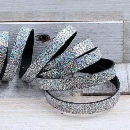 Glitter Nappa leer 10mm Zilver EL140 Leer met glitter
