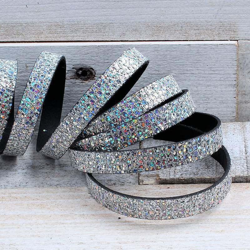 Glitter Nappa leer 10mm Zilver EL140