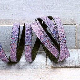 Glitter Nappa leer 10mm FuchsiaEL141 Leer met glitter