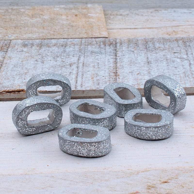 Keramiek ovaal mat zilver 18.5x5.5mmKE76 Keramiek Ring/Ovaal