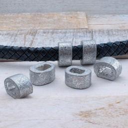 Keramiek ovaal mat zilver 18.5x10.5mmKE75 Keramiek Ring/Ovaal