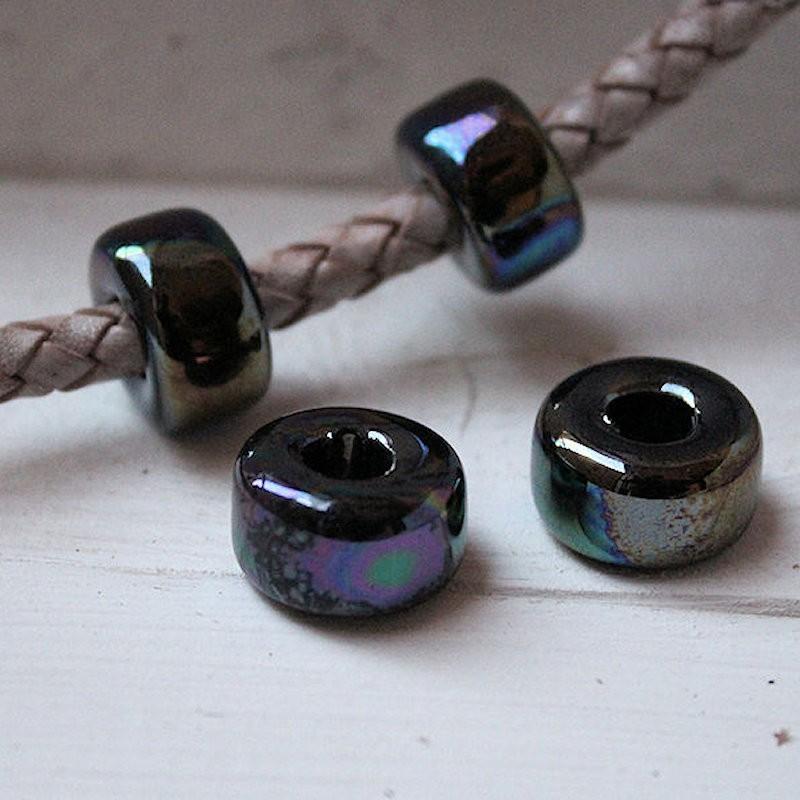 Keramiek metallic Black rondel 18x10mm KE79