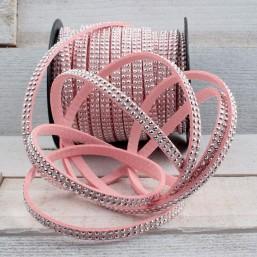 Roze suede veter met 2 rijen platte studs SV59 Suede met studs