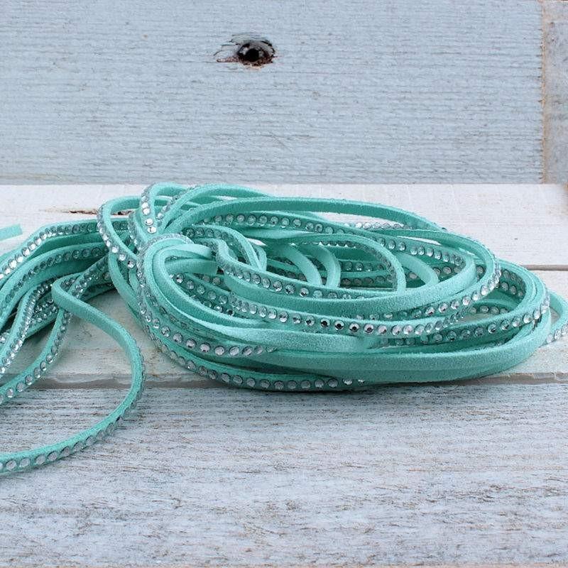 Suede veter turquoise met crystal SV65 Suede met crystal