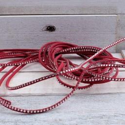 Suede veter rood met crystal SV64 Suede met crystal