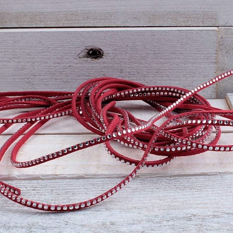 Suede veter rood met crystal SV64