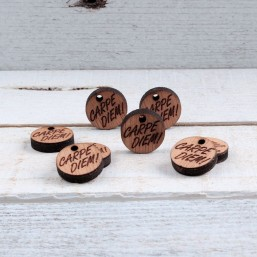 Houten bedel Carpe Diem 16mm HOU07 Houten kralen