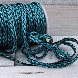 Satijnkoord Bermuda Blue Plat gevlochten 8mm ZK23 Satijnkoord
