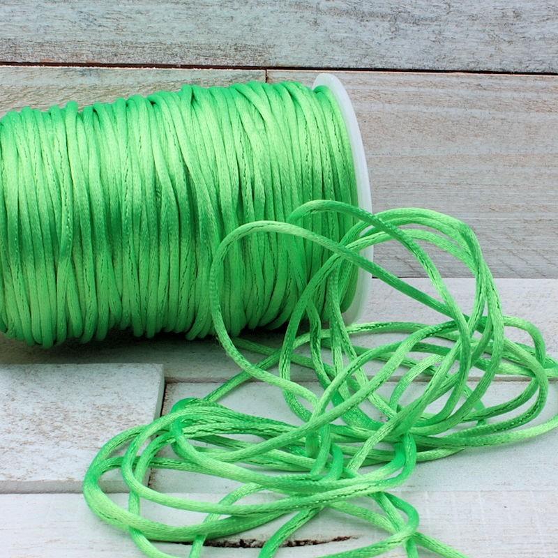 Satijnkoord Neon Groen 2mm ZK11