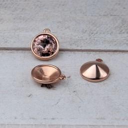 DQ metaal hanger voor 1122 Rivoli 12mmDQ875a 40% Korting! DQ metaal Rosé Gold/Goud