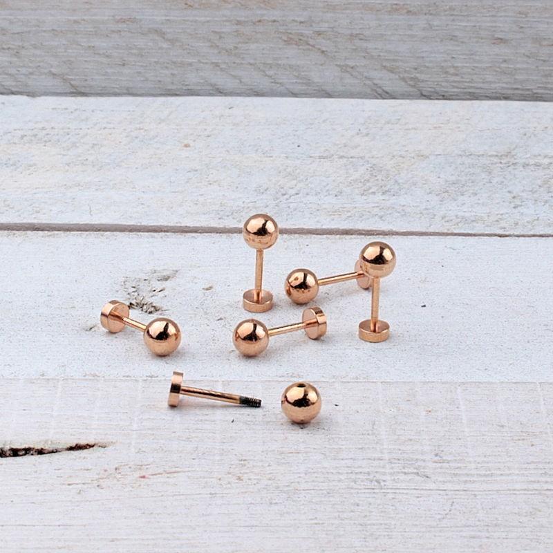 DQ metaal pin voor leer Rosé Gold DQR89 Screw-it