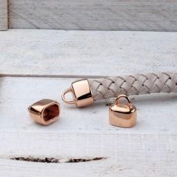 DQ eindkap ovaal leer Rose GoudDQR16 40% Korting! DQ metaal Rosé Gold/Goud