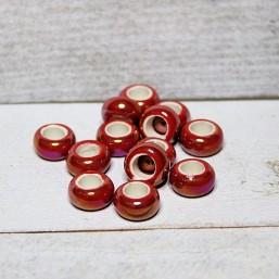 Keramiek rondel Rood AB glans 13mmKE31 Keramiek Rondel glans