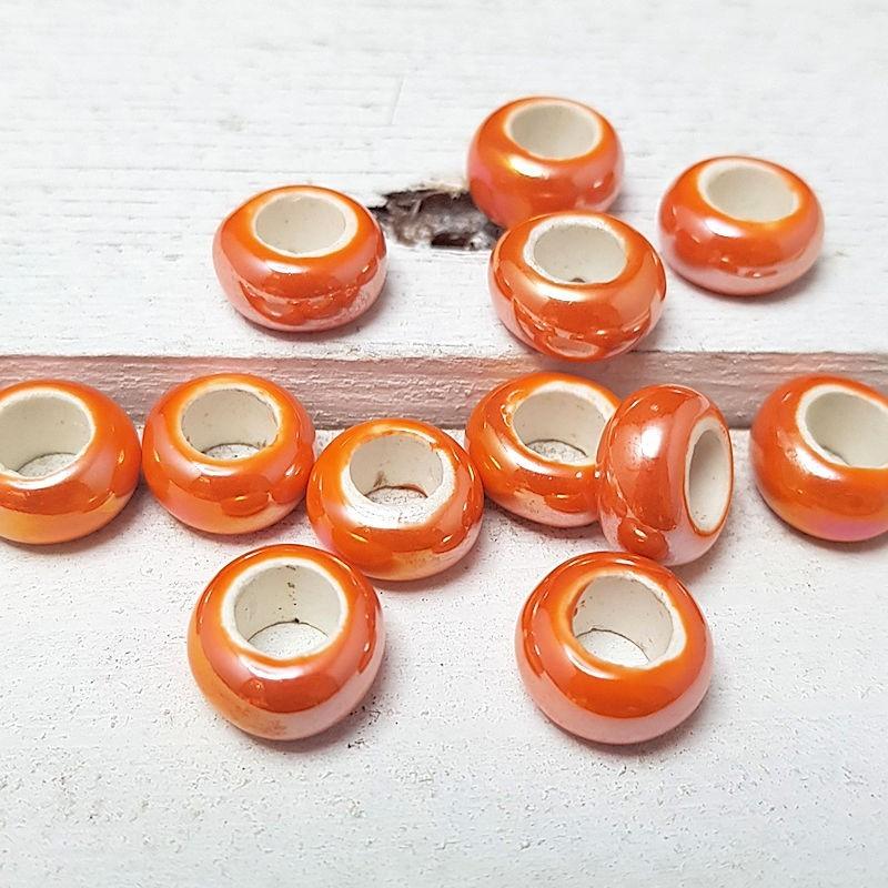 Keramiek rondel Oranje AB glans 13mm KE11 Keramiek Rondel glans