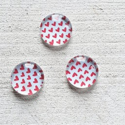 Cabochon basic Hearts Rouge red 12mm CAB07
