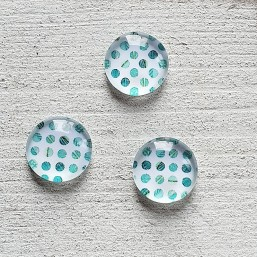 Cabochon basic Dots Turquoise green 12mm CAB06