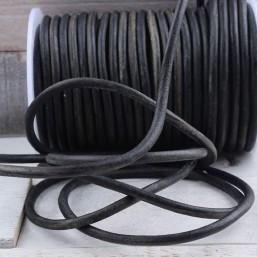 Rond leer 4mm Vintage Zwart EL165