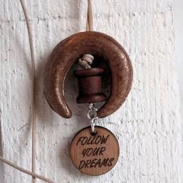 Ketting met keramiek en houten bedel INSPIRATIE Kettingen