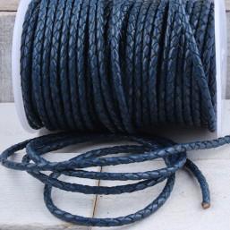 DQ Vintage Blue rond gevlochten leer DQ09