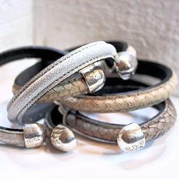 Armband Half rond leer met Spang INSPIRATIE Dames armbanden