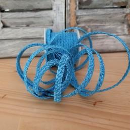Plat gevlochten polyester koord Licht blauw 6mm LI104 Gevlochten koord polyester
