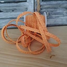 Plat gevlochten polyester koord Oranje 6mm LI103 Gevlochten koord polyester