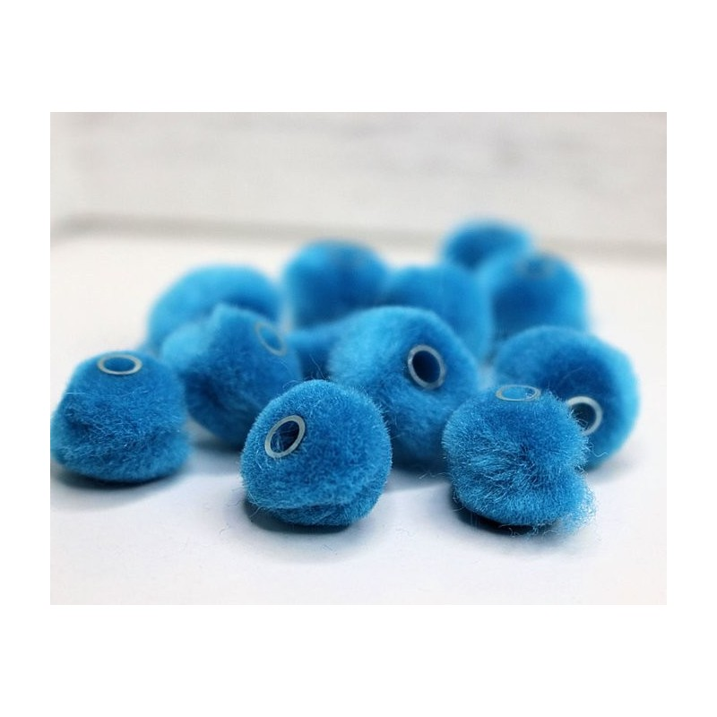 Pluizenbolletje met tube Turquoise PLB31 SALE/MIX